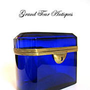 Vibrant Blue French Glass Casket 19th Century