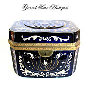 Bohemian 19th Century Cobalt Blue Glass Enameled Casket