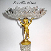 French Empire Crystal and Dore Bronze Cherub Centerpiece.