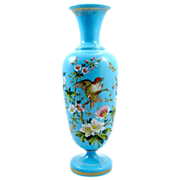 Antique Opaline Glass With Flowers and Birds Circa 1860