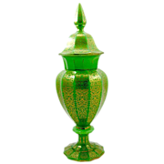 Superb Antique Green Opaline Glass Vase and Cover
