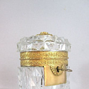 Antique Charles X Crystal Casket & Key