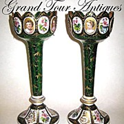 SOLD Pair of Bohemian MOSER 19th Century green and white overlay lustres, lusters