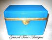 Large French Blue Opaline Rectangular Casket Circa 1860
