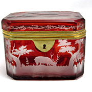 SOLD Finely Engraved Bohemian Biedermeier Ruby Red Box