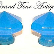 SOLD Pair 19th Century French Blue Opaline Door Knobs