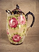 Gorgeous Nippon Chocolate Pot with Hand Painted Roses and Cobalt Trim