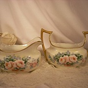 Lovely Hand Painted Porcelain Creamer & Open Sugar Bowl. Paul Muller Selb Germany