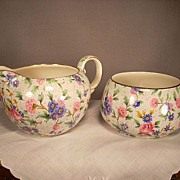 "Royal Winton ""Old Country Chintz"" Creamer and Sugar. Elite Mold"