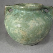 Burley Winter Art Pottery Handled Vase in Green and Cream