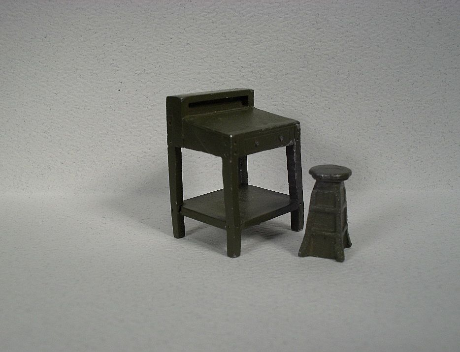 Metal 1 4 Scale Model Office Furniture In Olive Drab Green