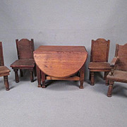 "Set of 4 Red Stain Dollhouse Chairs. 3/4"" Scale. Made in Germany Early 1900's"