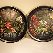 "Pair of Primitive Folk Art Floral Paintings from Hungary - 15"" in Diameter"