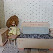 German Dollhouse Furniture - 5 Piece Bedroom Set in Pink with Hand Painted Posies