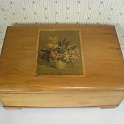 Wooden Dresser Box Loaded with Over 25 Vintage Hankies