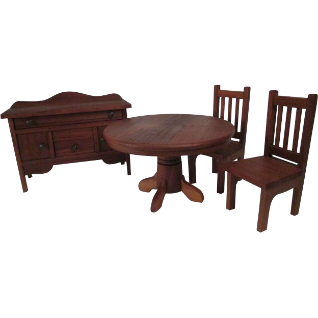 dollhouse furniture dining room set with buffet table two chairs
