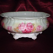 Gorgeous German Porcelain Skirted Bowl or Ferner with Rose Transfer