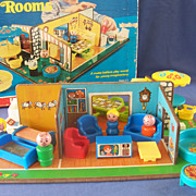 Fisher Price Play Family Rooms with Box - RARE