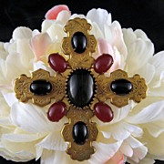Big Carnelian & Black Art Glass Cross Brooch Stamped Brass