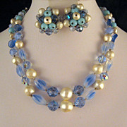 Laguna Necklace Earrings Blue Opalescent Glass Beads