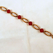 Art Deco French Carnelian Glass Gold-tone Bracelet