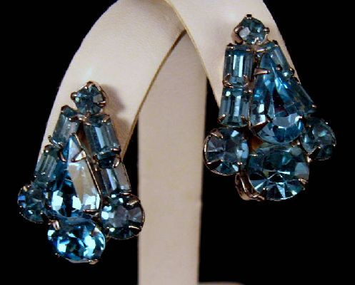 Beautiful Topaz Blue Signed Weiss Rhinestone Earrings