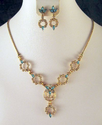 Rhinestone Necklace Earrings Aqua Clear Star-Art Gold Filled