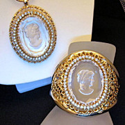 Warner Intaglio Bracelet Necklace Set Gold-tone Rhinestones