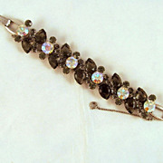 "DeLizza & Elster Juliana ""Black Diamond"" Gray & AB Rhinestones Bracelet"