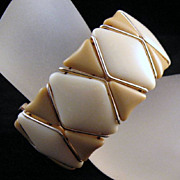 Cream Taupe Glass Western Germany Cuff Wire Bracelet