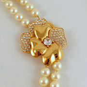 Monet Faux Pearls Rhinestone Flower Clasp Double Strand Necklace