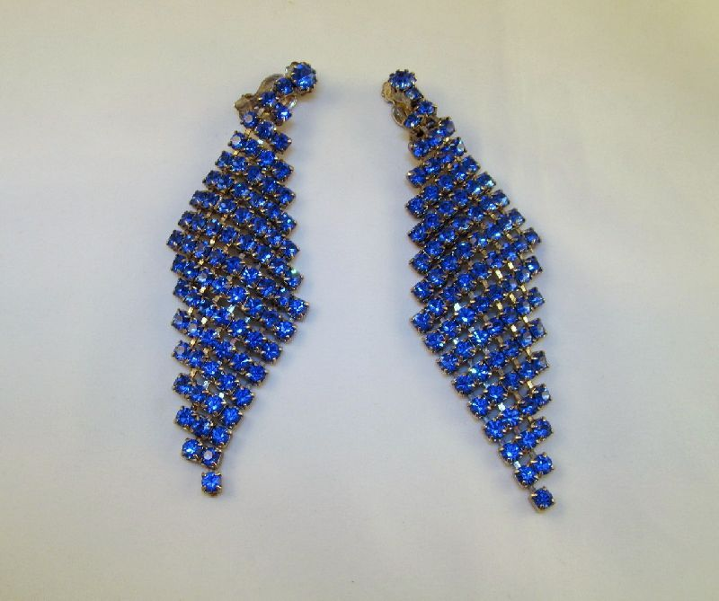 Blue Rhinestone Shoulder Duster Dazzling Clip Earrings