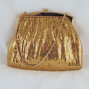 Vintage Whiting and Davis Mesh Purse Gold-tone #2893