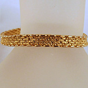 Dainty Monet Flat Woven Bracelet Gold-tone Safety Clasp