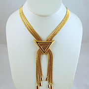 Monet Tassel Choker Gold-tone Multi-strand Chains Necklace 1970s