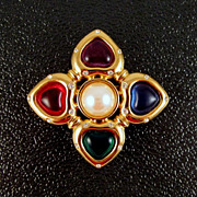 Givenchy Signed Primary Colors Brooch Gold-tone Faux Pearl