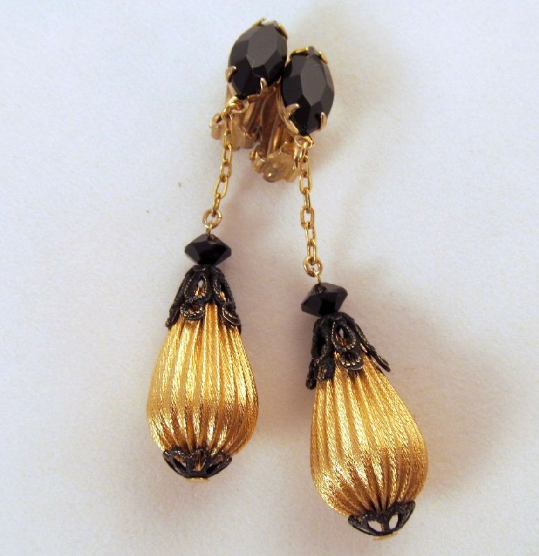 Lewis Segal Black Rhinestone Drop Clip Earrings