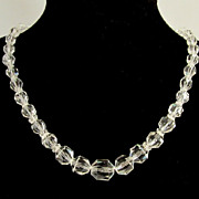 Czechoslovakia Faceted Barrel Crystal Beads Choker Necklace