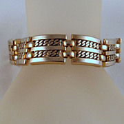 Monet Maharani Gold-tone Bracelet Double Link Book Piece