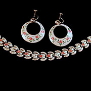 Marino Signed Cuba Souvenir Enamel Bracelet Earrings 1950s
