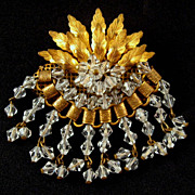 Vintage U/S Gold Leaves Wired Crystals Bookchain Brooch