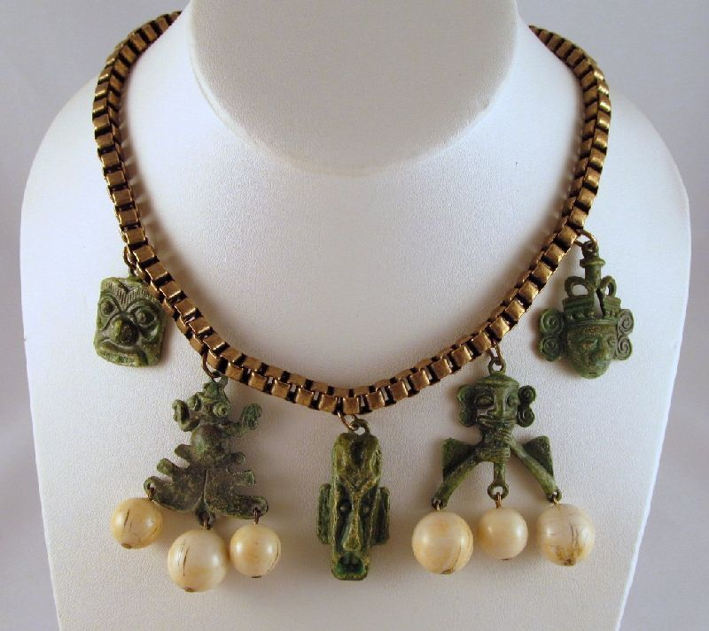 Tribal Masks Frog Brass Box Link Necklace Beads