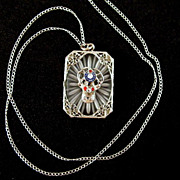Camphor Glass Pendant B.P.O.E. Elk's 11th Hour Emblem Sterling Chain