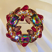 Volcano Watermelon Rhinestone Brooch Purple Red Pink Aurora Borealis Gold-tone