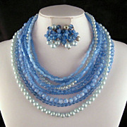 Blue Marvella 10 Strand Glass Beads Necklace Earrings Set
