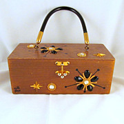 "Enid Collins Original ""Mille Fleur"" Box Purse 1960s Black Gold"