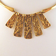 Anne Dick Hammered Bronze Modernist Choker Necklace 1960s