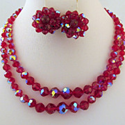 Deep Fuchsia Laguna Aurora Borealis Crystals Necklace Earrings