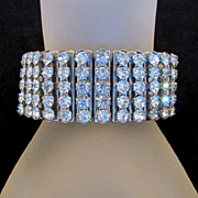Five Row Rhinestone Expansion Stretch Bracelet 1950s