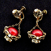 Renaissance Revival Hanging Basket Screw-back Earrings